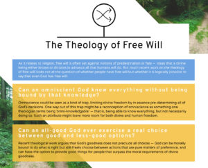 Graphic that asks important questions that come up in the philosophy and theology of free will.